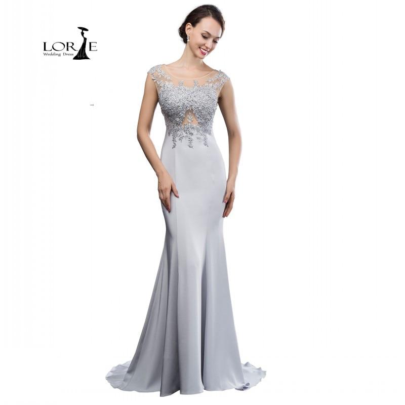 Abendkleider Lange Long Silver Dresses 2017 Mermaid