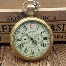 Высокое качество Мужские 5 руки медный чехол военные автоматические часы Механические карманные часы Подарочная коробка лондонские часы