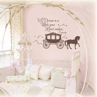 Cinderella Wall Decal A Dreams is A Wish Your Heart Makes Girl Bedroom Wall Decal Kid Room Decor 76.2cm x 116.8cm