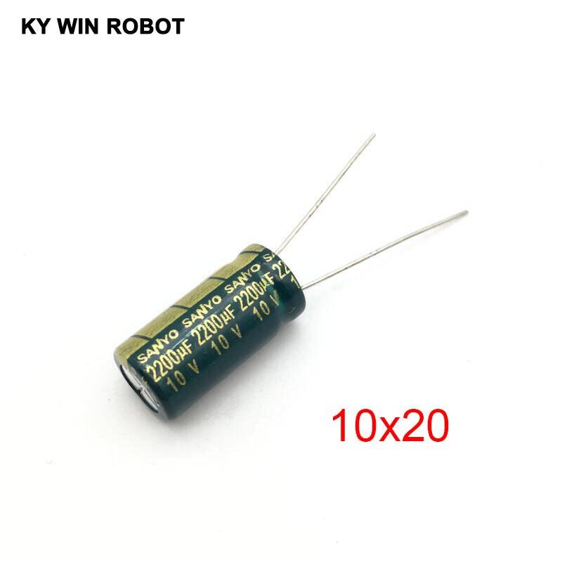 10 PCS 2200UF//10V Radial Electrolytic Capacitors 10x20mm 10V 2200UF 105°C