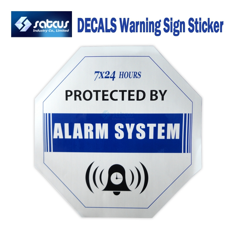 50 шт. домашней безопасности GSM сигнализация Системы Siren Водонепроницаемый синий наклейки Предупреждение знак Стикеры