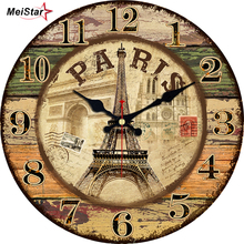MEISTAR 5 Patterns Vintage Decorative Tower Wall Clock Silent Durable Watches Home Decor Large Elegant Clocks