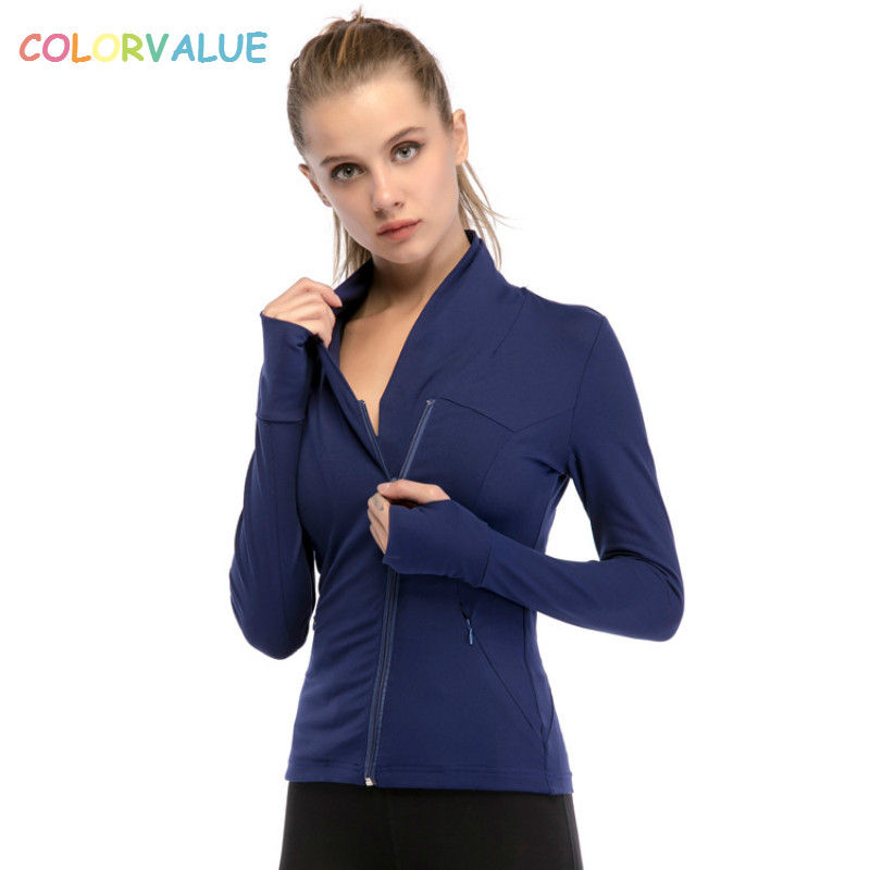Colorvalue Chic Zipper Yoga Jacket Women Slim Plus Size Jogger Running Coat Nylon Sport  ...