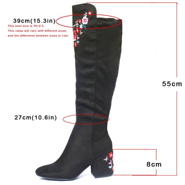 NINGUTA embroider high boots women autumn spring heels women knee high boots. 2