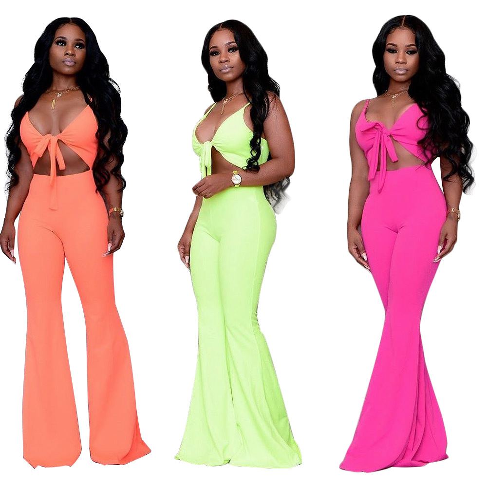 Rompers   Women's Jumpsuit Sexy Deep V Solid Color Cutout Off Shoulder Playsuits Fashion Sling Wide Leg Bodysuit Backless Casual