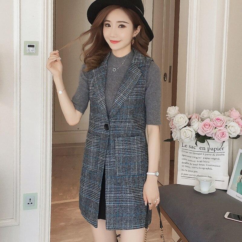 Hiawatha ארוך אפוד חליפת קוריאני 2018 חדש סתיו משובץ ללא שרוולים בלייזר נשים אופנה יחיד כפתור מעיל כיס BL023