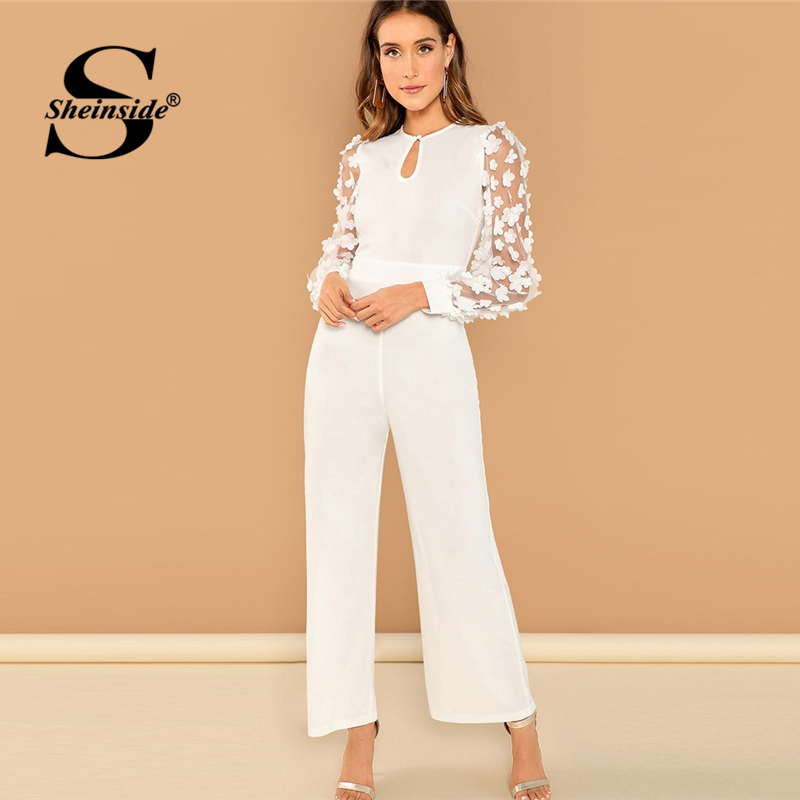 Sheinside Elegant Applique Mesh Sleeve Jumpsuits Women 2019 Spring Casual Solid Wide Leg Jumpsuit Ladies High Waist Jumpsuits