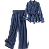 2019 Spring Autumn Ladies Two Piece Denim Sets 2 Pcs Set Women Pant Sets Button Pockets Shirt +High Waist Long Jeans Pants