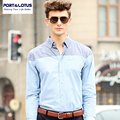 Port&Lotus Men Shirt Solid Contrast Color Oxford Long Sleeve Mens Slim Fit Shirts Brand Clothing 199YDS1360 Mens Clothing