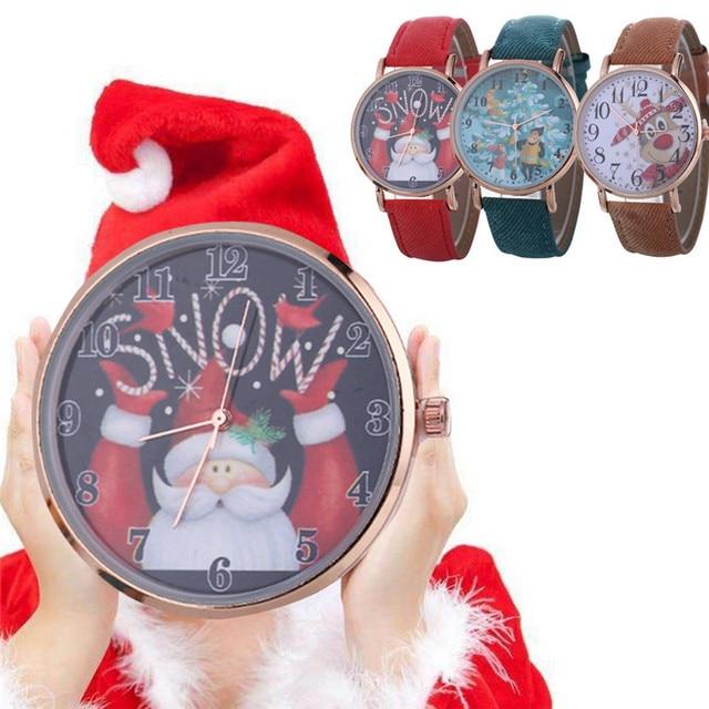 Women Female Santa Claus Pattern Watch Fashion Quartz wristwatches Christmas Gif