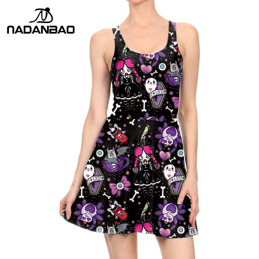 NADANBAO Brand Summer Women Dress Halloween Ghost Party Dress 3D printed  Beach Pleated Dress 17a95cdee83d