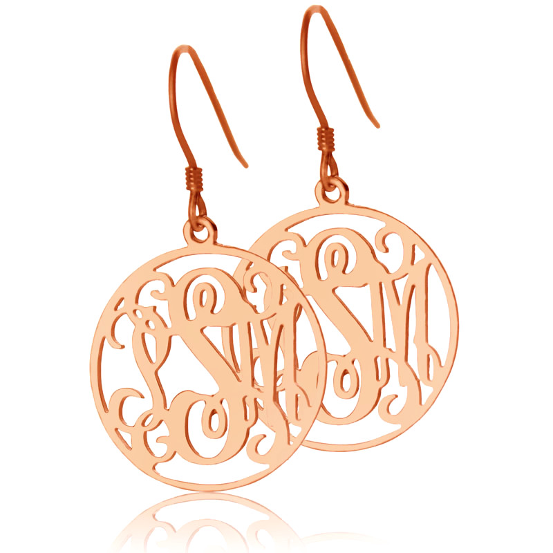 AILIN Freeshipping---Sterling Silver Circle Monogram Earrings Custom Monogrammed Name Earrings Personalized Name Jewelry