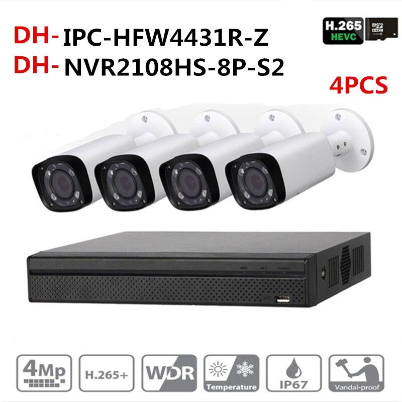 DH CCTV Kits de Câmera de Segurança NVR NVR originais NVR2108HS-8P-S2 OEM Câmera IP IPC-HFW4431R-Z Motor Sistema de Zoom Da Câmera de Vigilância