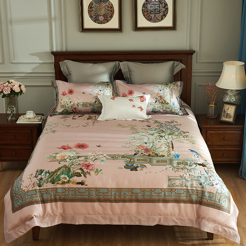 Luxury Chinese Traditional Flower 1000tc Egyptian Cotton