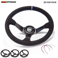 Auto 350mm Deep Dish Drift Racing Steering Wheel Suede Leather With Horn Button EP FXP1701R