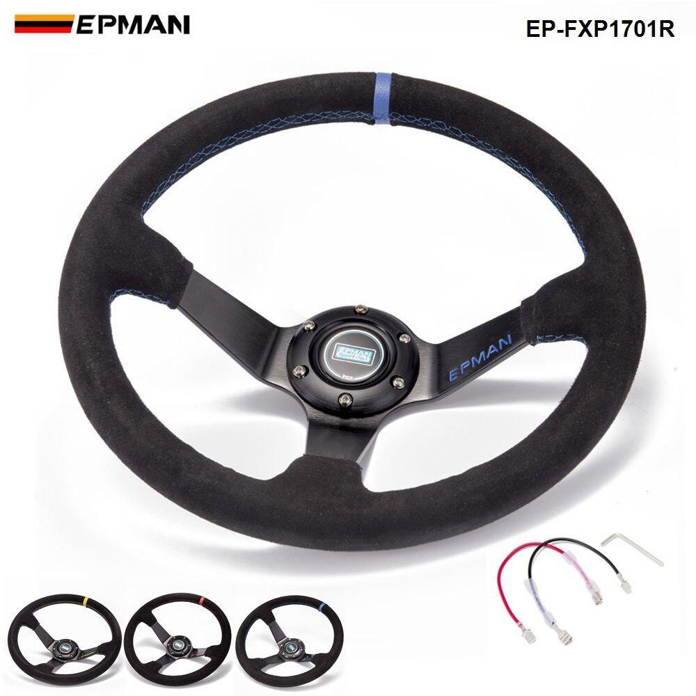 Auto 350mm Deep Dish Drift Racing volante de cuero de gamuza con bocina botón EP-FXP1701R