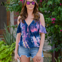 Plus Size 4xl 5xl Cotton V-neck Short Sleeve Female T Shirt Loose Tops Lady Tees Tie Dyeing Print New 2019 Casual Women T-shirt цены