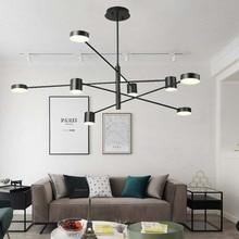 BOKT Nordic Led Pendant Lamp Line Rotating Iron Home Decoration Chandelier Simple Fashion Restaurant Retro