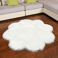 Faux Fur Sheepskin Rug Plum Blossom Rug Carpet Soft Faux Sheepskin Chair Cover Home Decor Accent for Children Bedroom Floor Mat