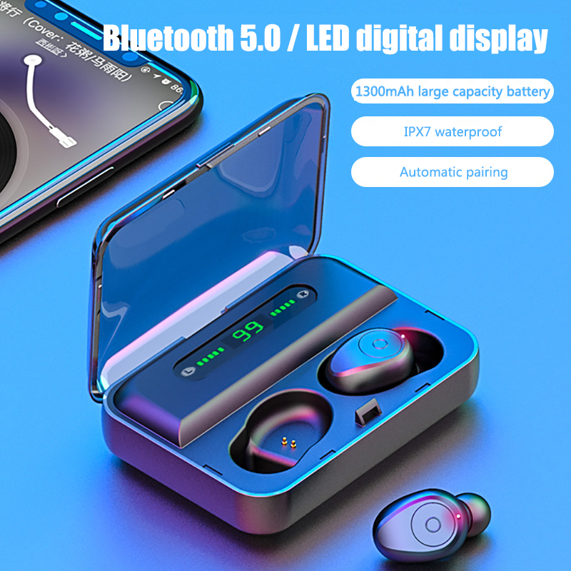 HOT Bluetooth 5.0 Earphone HBQ TWS Wireless Headphons 3D Stereo Gaming Headset Sports Handsfree Earbuds With Mic Charging Box