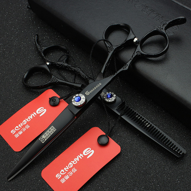 Hair stylist professional 6-inch left-handed hairdressing scissors personality tri-color barber scissors thin set 1