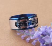 Męski krótki styl polerowany i szczotkowany niebieski modlitwa dwuwarstwowa obrotowe pisma krzyż stalowe pierścienie ze stali nierdzewnej