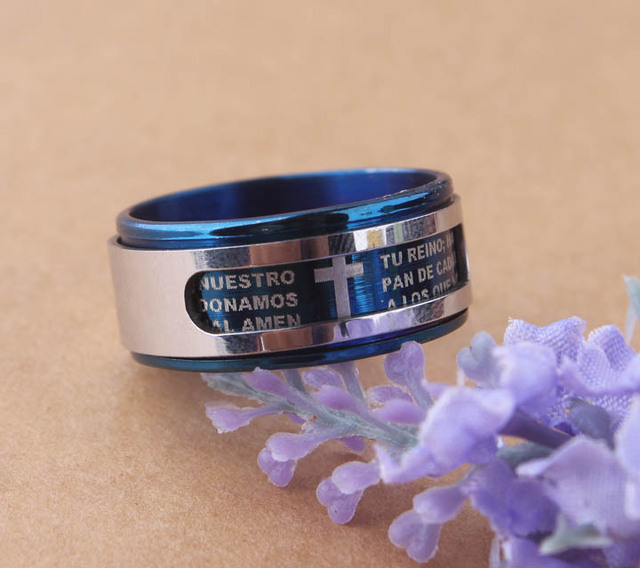 Mens brief style Polished & Brushed Blue Prayer double layer swivelling  scriptures cross Stainless Steel Rings