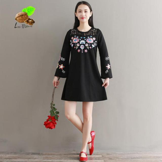 2018 New Women Lace Printed Flower Plus Size Loose Dress Womens