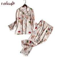 Fdfklak Spring Woman Tracksuit Long Sleeve Floral Blouse Pyjama Women Sleepwear Sexy Two Piece Set Pijamas Mujer M XXL Q802