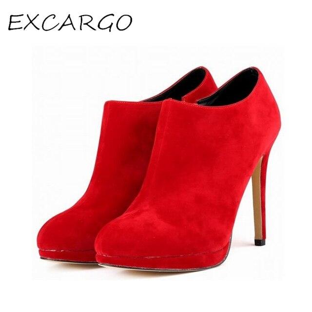 8b7ab6d85 Sapatos outono Mulheres Tornozelo Botas De Salto Alto Vermelho Casamento  Sapatos de Salto Alto 10 CM