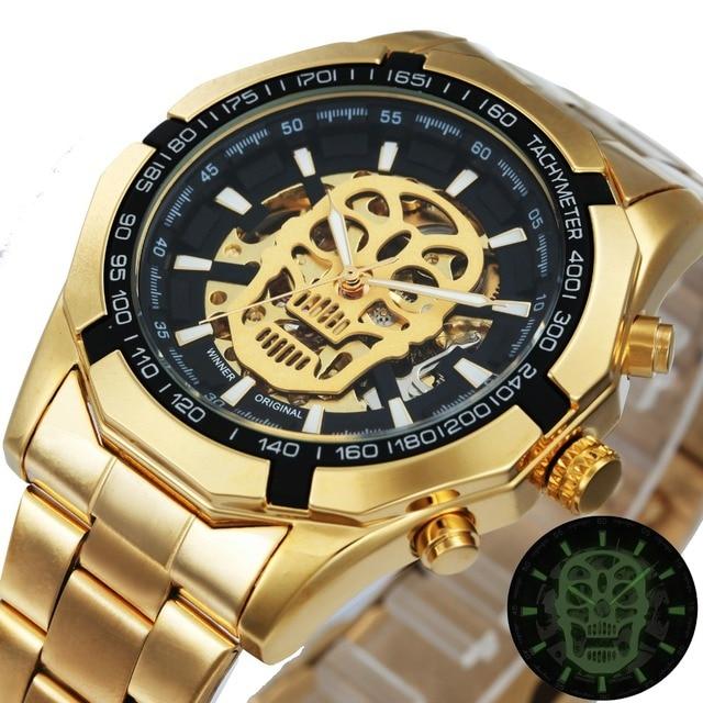 WINNER Classic Golden Skeleton Mechanical Watch Men Stainless Steel Strap Top Br