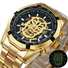 WINNER Official Golden Automatic Watch Men Steel Strap Skeleton Mechan