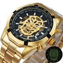 Часы скелетоны WINNER Мужские механические, брендовые роскошные золотистые автоматические, со стальным ремешком и черепом, оптовая продажа
