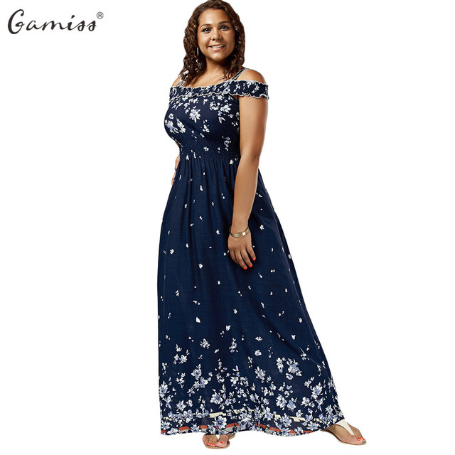 a54e6ac2d44a Gamiss Plus Size Floral Print Cold Shoulder Maxi Dress Women High Waist  Dresses Bohemian Robe Femme Short Sleeve Vestidos Mujer
