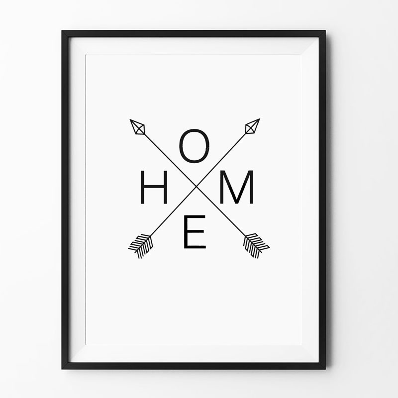 buy home arrow print sign scandinavian. Black Bedroom Furniture Sets. Home Design Ideas