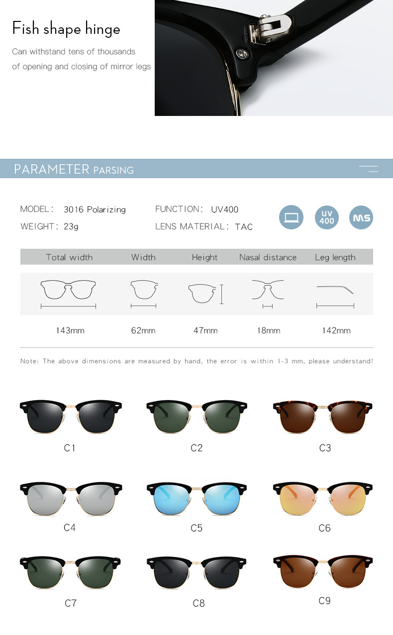 Polarized Sunglasses Men Women RB3016 Brand Design Eye Sun Glasses Women Semi Rimless Classic Men Sunglasses Oculos De Sol UV400 6