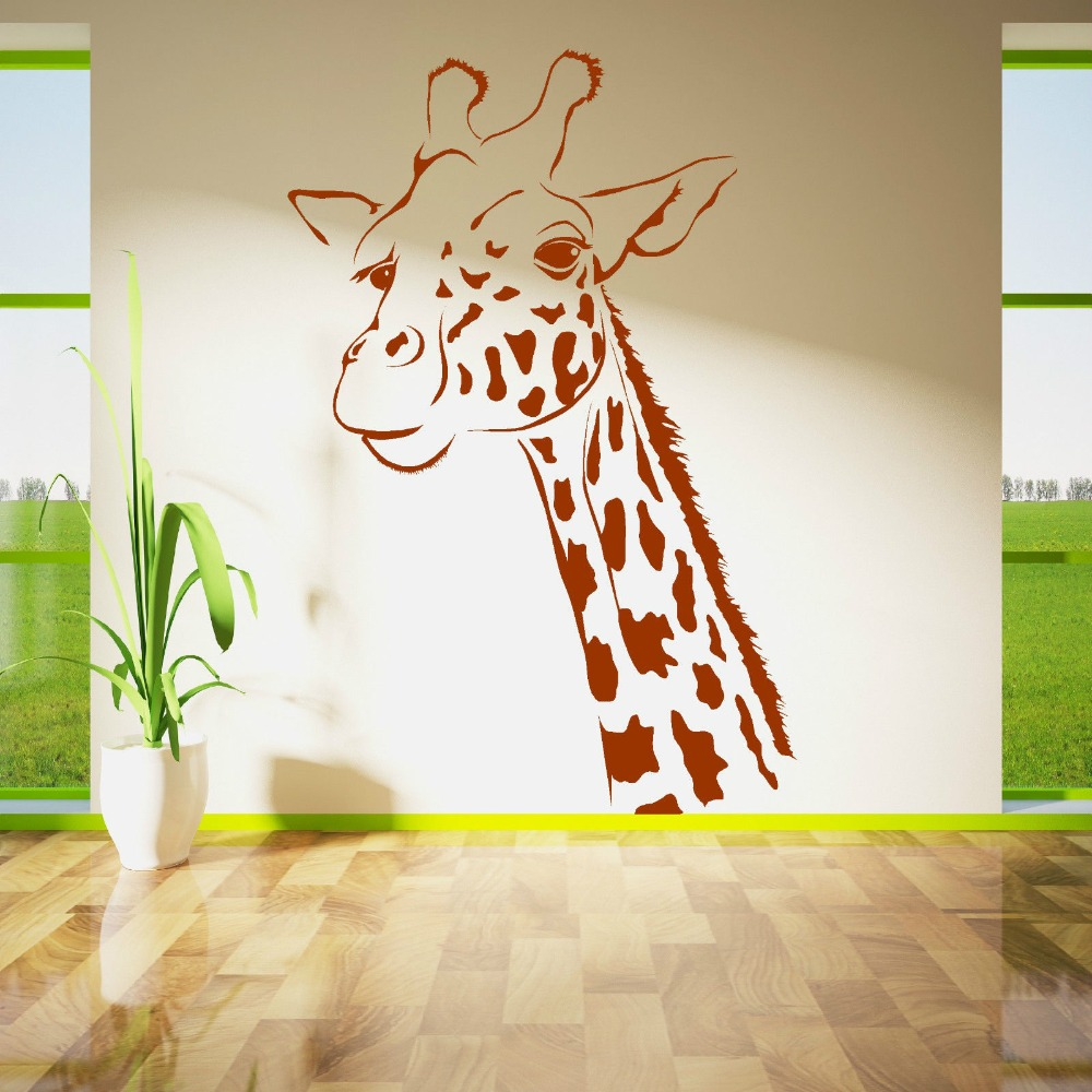 animal wall murals promotion shop for promotional animal wall children bedroom kids room art decorative giraffe head vinyl wall mural animal series wall sticker nursery room decor y 858