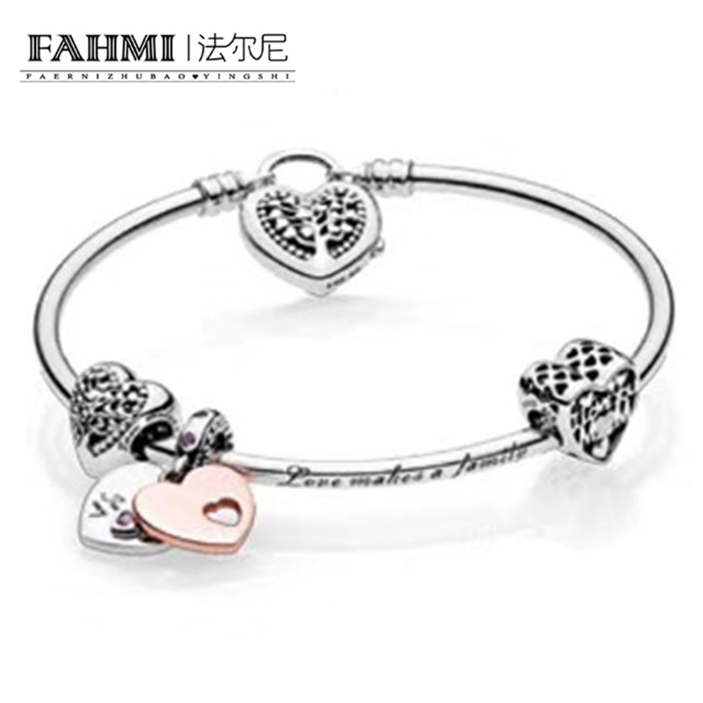 FAHMI 100% 925 Sterling Silver 1:1 Authentic Charm Of Life Tree And Affection Bracelet Suit Suit DIY Gift Women Original JewelryFAHMI 100% 925 Sterling Silver 1:1 Authentic Charm Of Life Tree And Affection Bracelet Suit Suit DIY Gift Women Original Jewelry