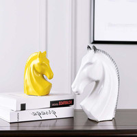 3Pcs/set Nordic Ceramic Ornaments Horse Head Statues Animals Figurine Art&Craft Home Decoration Accessories R664