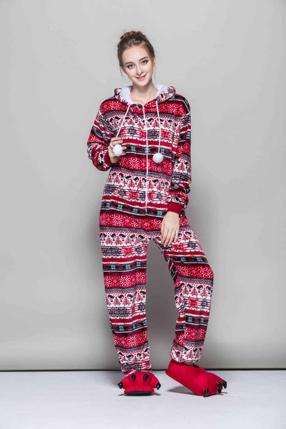 017e341983 New Fashion Cartoon Pyjama Women Flannel Adult Hooded Animal Sleepwear  Autumn and Winter Red Bird Onesies Snowflake Pajama Set