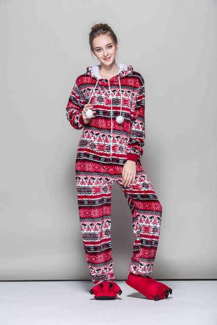 e64668c7af New Fashion Cartoon Pyjama Women Flannel Adult Hooded Animal Sleepwear  Autumn and Winter Red Bird Onesies Snowflake Pajama Set