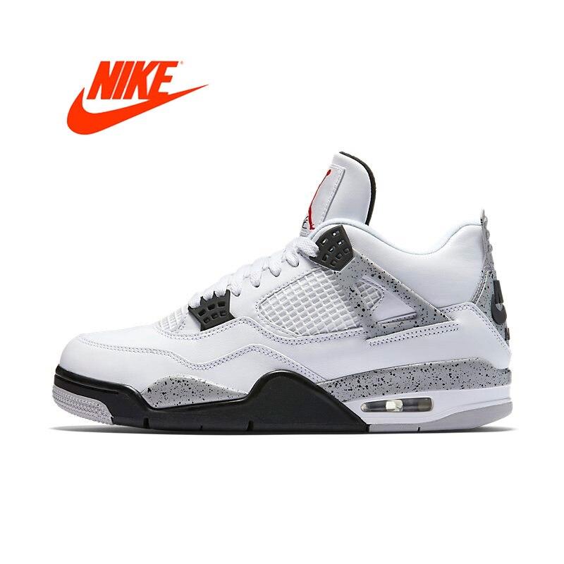 Los hombres originales de Nike Air Jordan 4 OG AJ4 cemento blanco de los hombres zapatillas de baloncesto deportes zapatillas de deporte para los hombres 840606-192
