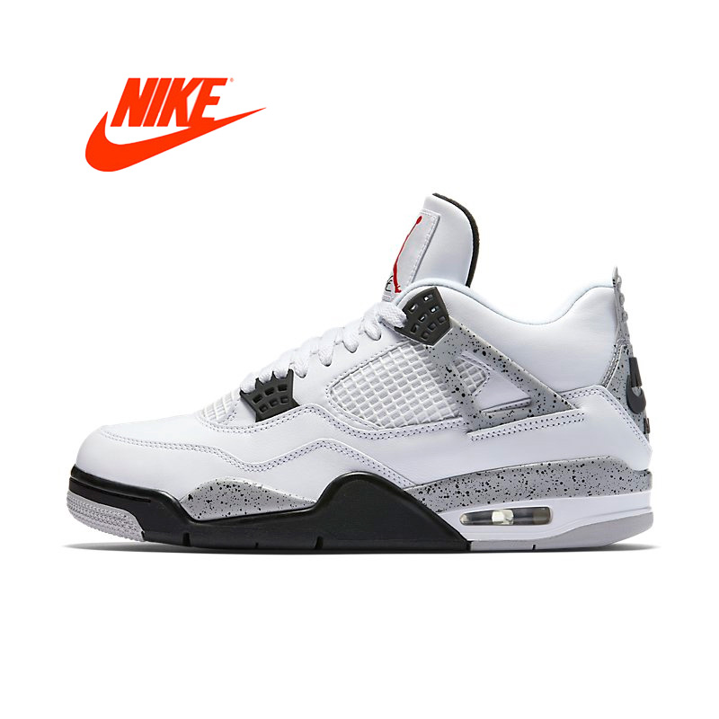 best authentic 94a91 83547 Original Men Nike Air Jordan 4 OG AJ4 White Cement Men s Basketball Shoes  Sports Sneakers for Men 840606-192