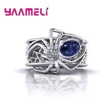 100% 925 Sterling Silver Exquisite Women Men Creative Spider Ring Punk Style Rings for Wedding Party Engagement Accessories(China)