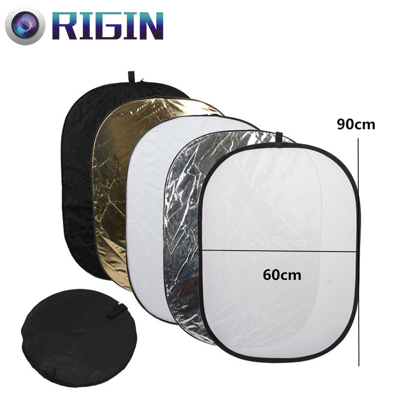 60*90CM/23x35 Studio Flash Accessories 5in1 Gold/Silver/Black/White/Translucent Reflecto ...