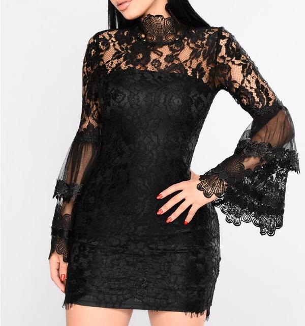 e5be76dc38 vintage mesh Transpent lace dress female trumpset sleeve mini dress spicy  Split ruffles party New Year s dress vestidos