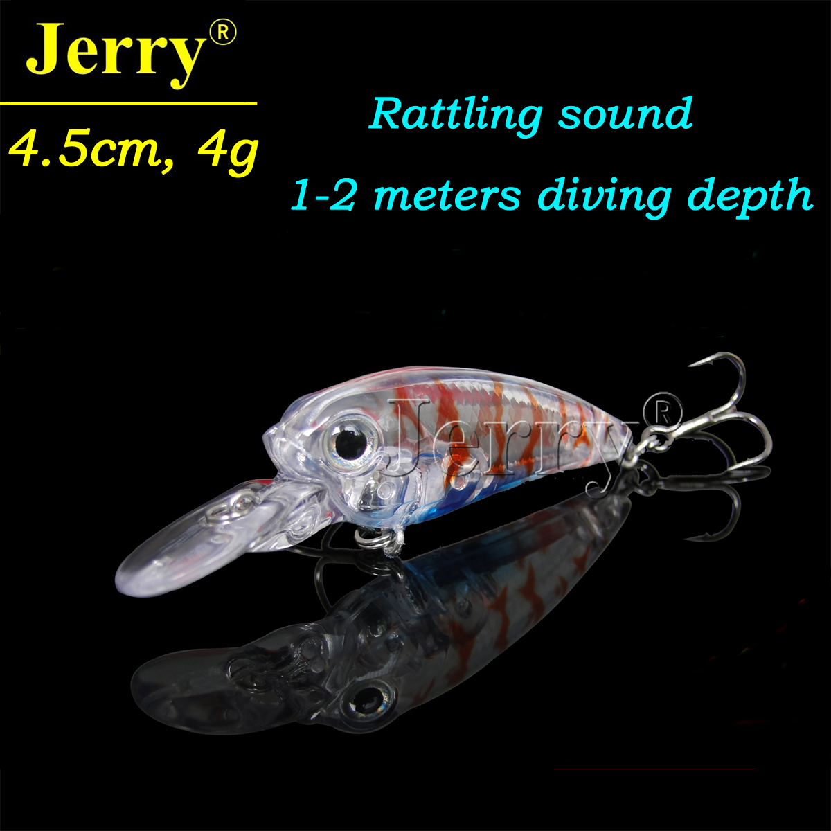 Jerry 1pc 4cm/1.6in 4g wobbler BKK hook rattle Japan crank bait plug high quality best crankbait hard fishing lure red strips wldslure 1pc 54g minnow sea fishing crankbait bass hard bait tuna lures wobbler trolling lure treble hook