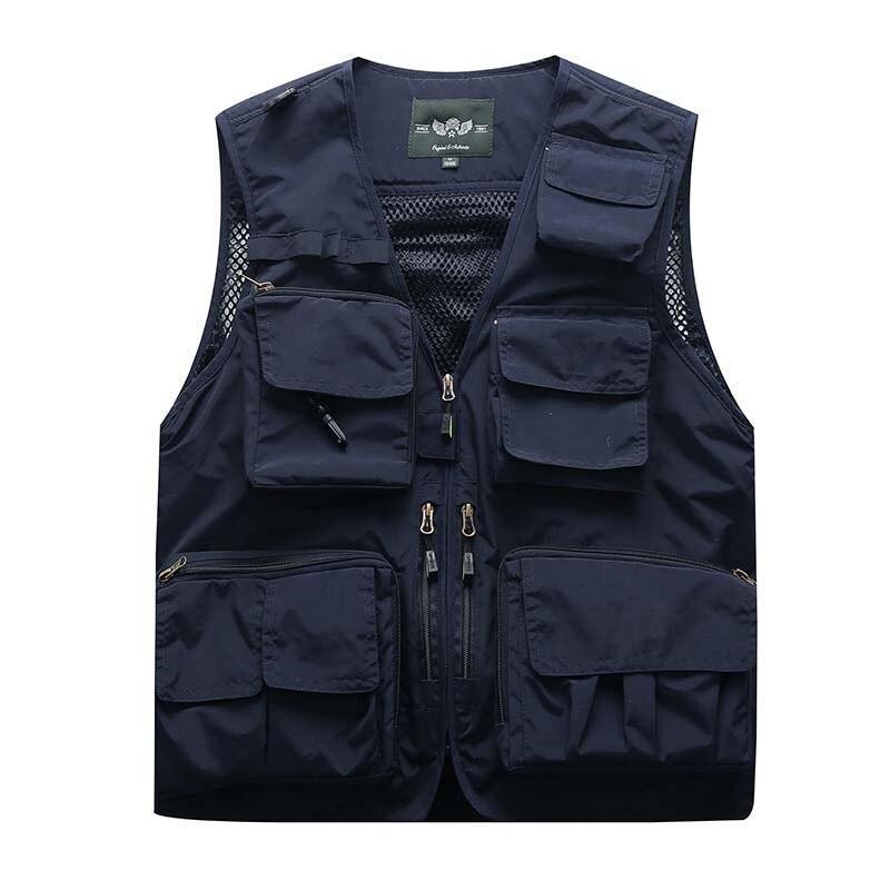 Hollow Out Vest Summer Autumn Men Photograph Vest 3D Pockets Net Casual Waistcoat Sleeveless Jacket Travel Mesh Vest Male Colete