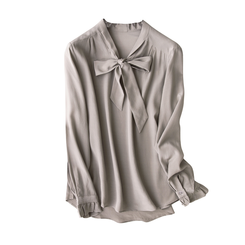 00cd4b501c683e 2019 100% Natural Silk Blouses Grey Bow Tie Long Sleeve Real Silk ...