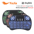 Vontar i8 + russo inglês teclado backlight mini sem fio 2.4 ghz 3 cor handheld touchpad para android tv box laptop backlit